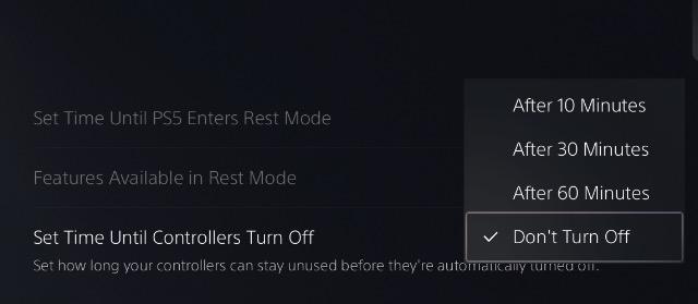 выберите время автоматического выключения контроллера DualSense