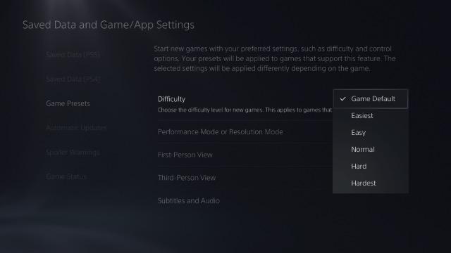выбрать предустановленную сложность игры для ps5