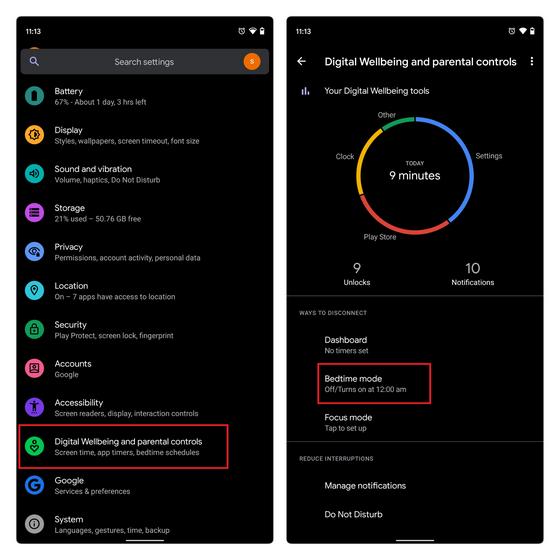 включить режим сна Android