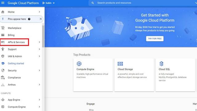 открыть раздел API и сервисов