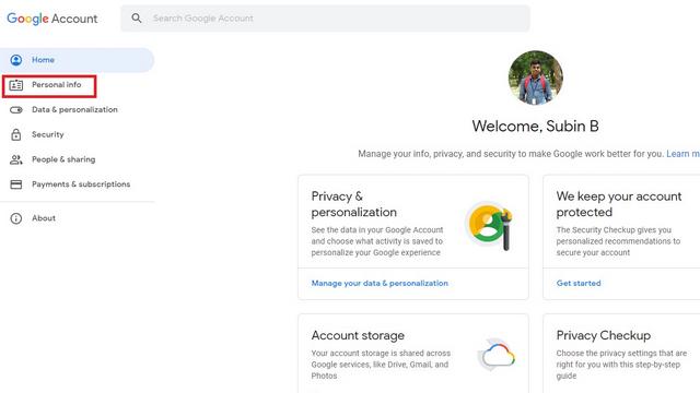 личная информация аккаунт google