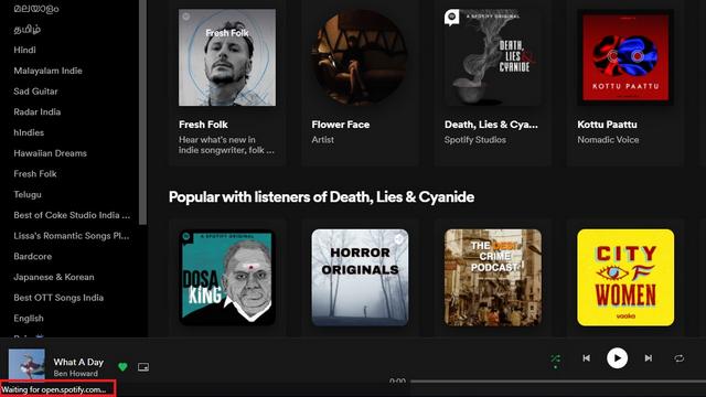 строка состояния на Spotify pwa