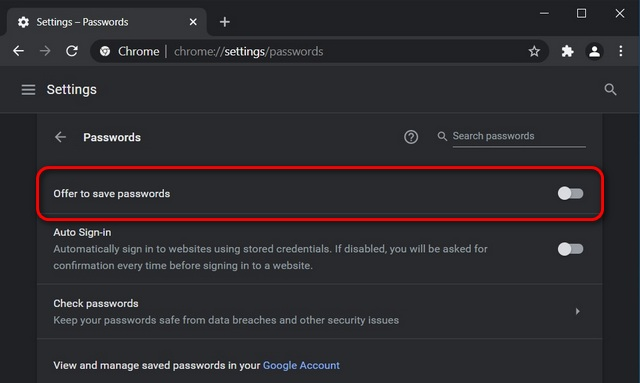 Отключить встроенный менеджер паролей в Chrome