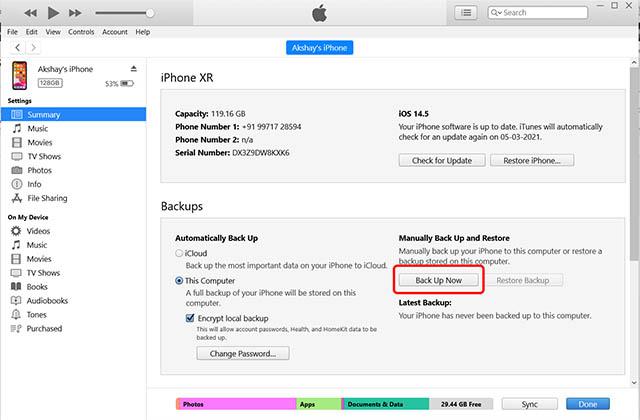 резервное копирование iphone itunes windows pc