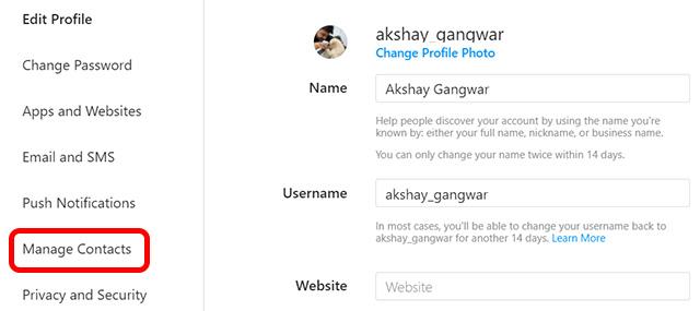 Instagram Интернет управление контактами