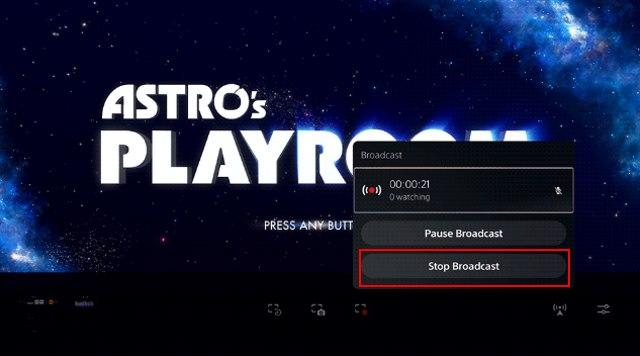 stop brodcast - остановить стрим игры ps5 на Twitch