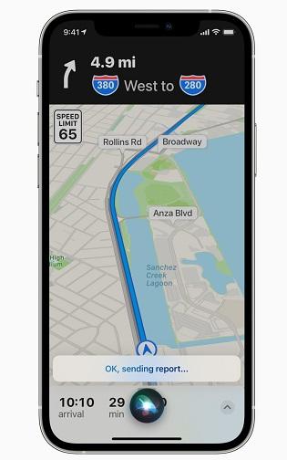 Notificación de incidentes en Apple Maps