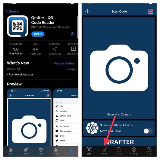 Aplicación de lector de códigos QR Qrafter: comparta la contraseña de Wi-Fi desde iPhone a Android