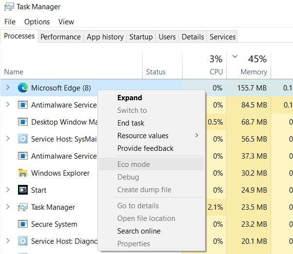 Habilite el Modo Eco para aplicaciones en Windows 10