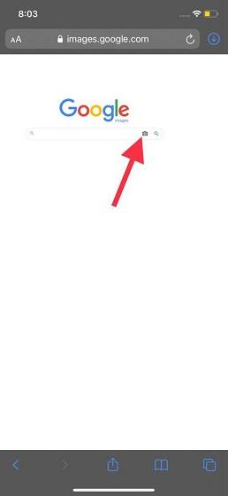 Toque el icono de la cámara - Búsqueda de imágenes inversa en iPhone