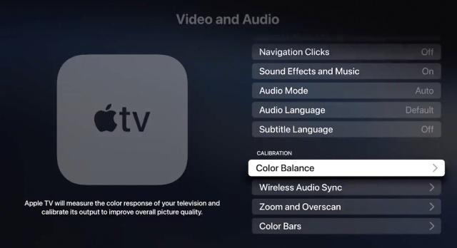 Einstellungen für die Videokalibrierung von Apple TV