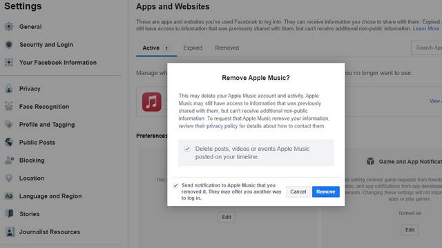 confirmar la eliminación de la aplicación de Facebook