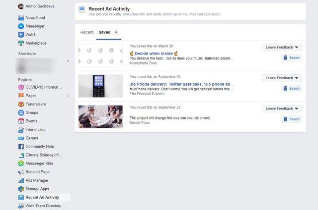 actividad de anuncio reciente de facebook 2