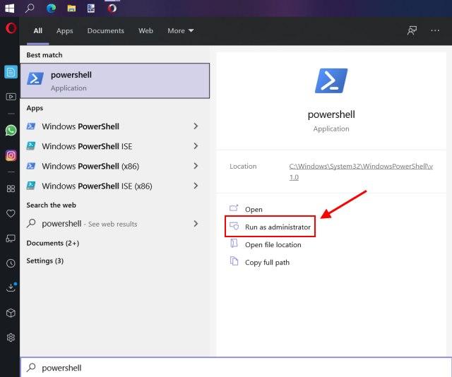 abrir powershell - administrador de paquetes de Windows