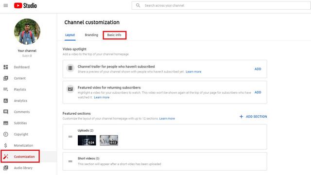 información básica de youtube