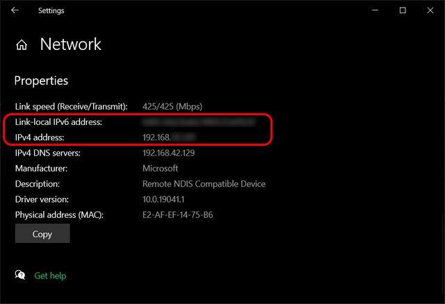 Encuentre la dirección IP interna (local) en Windows 10 Ethernet