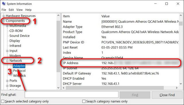 Encuentre su dirección IP en la información del sistema de Windows