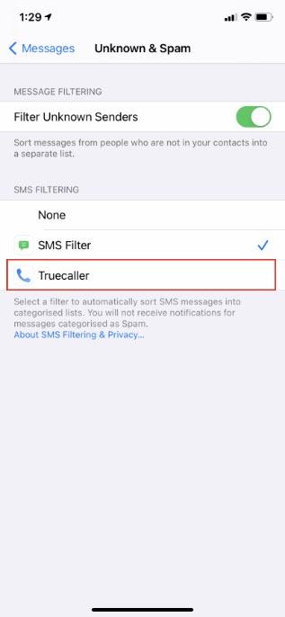 truecaller sms filtro ios 14