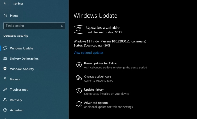 Windows 11 insider preview 22000.51