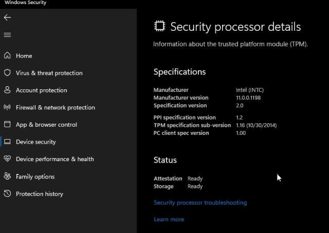 procesador de seguridad windows 11 y windows 10