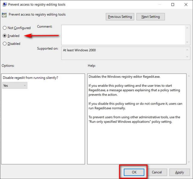 Deshabilitar el Editor del registro en Windows 10 usando la directiva de grupo