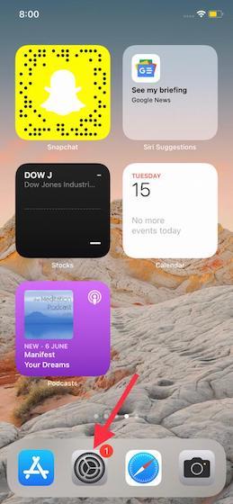 Abrir la aplicación de configuración en iPhone
