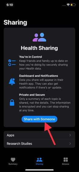 Compartir con alguien: cómo configurar Health Sharing en iOS 15