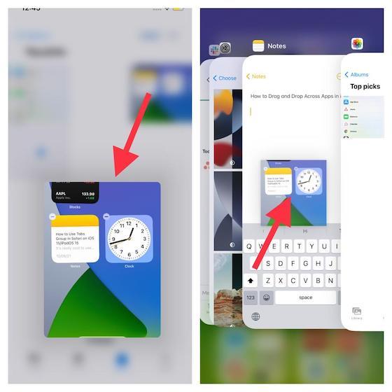 Uso de arrastrar y soltar entre aplicaciones en iOS 15