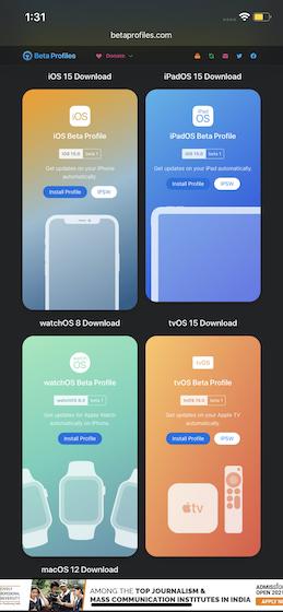 iOS 15 Beta-Pro