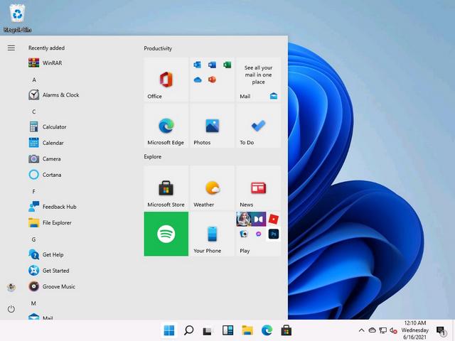 menú de inicio de Windows 10 con mosaicos en vivo en Windows 11