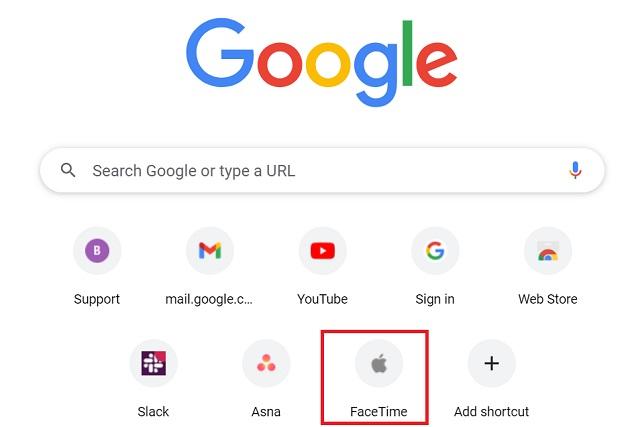Acceso directo de FaceTime en la página de inicio de Chrome