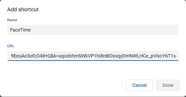 Ahora agregue el acceso directo de enlace de FaceTime a Chrome