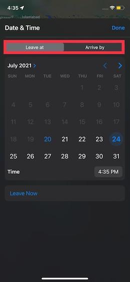 Cómo configurar las horas de salida y llegada en Apple Maps