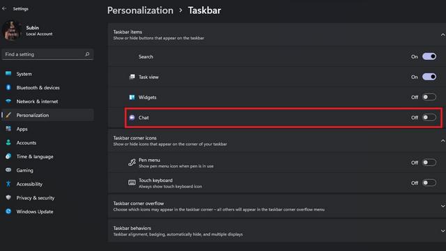 deshabilitar el chat desde la configuración de Windows 11