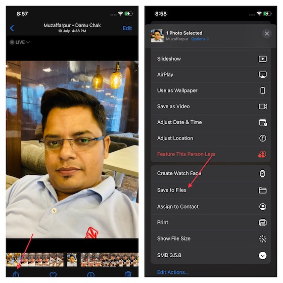 Guarde una imagen en la aplicación Archivos en iPhone y iPad