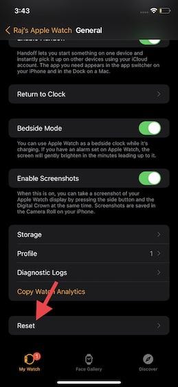 Toque Restablecer en la aplicación Apple Watch