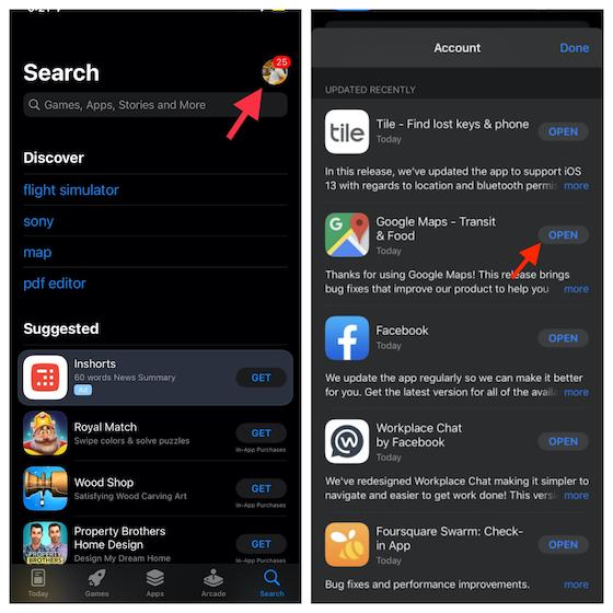 Actualizar Google Maps en iPhone y iPad