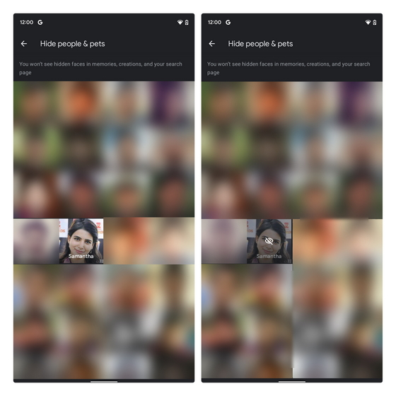 ocultar a las personas de los recuerdos de google photos