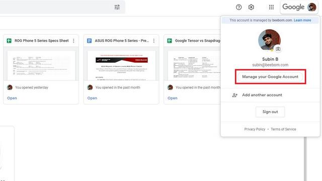administrar cuenta de google