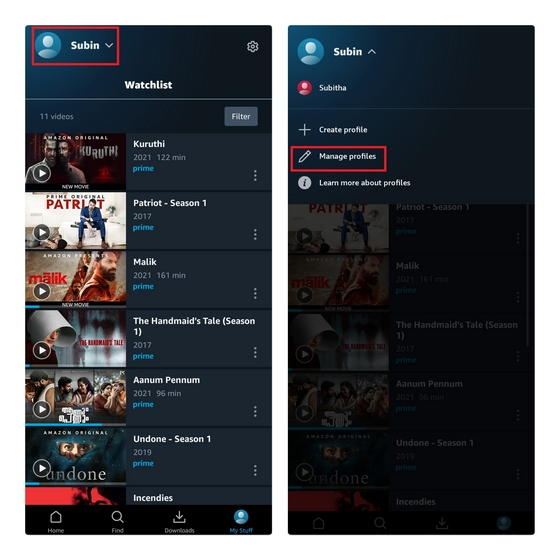 prime video android administrar perfiles