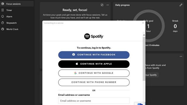 reloj de windows de inicio de sesión de spotify