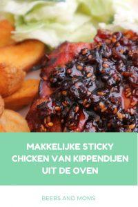 Makkelijk recept voor sticky chicken van kippendijen uit de oven - kindvriendelijk