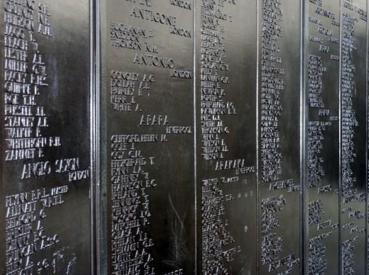 Merchant Navy War Memorial Tower Hill details of names