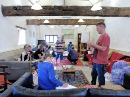 Hard at work in the barn writing and illustrating