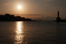 Sunset from the harbour Chania