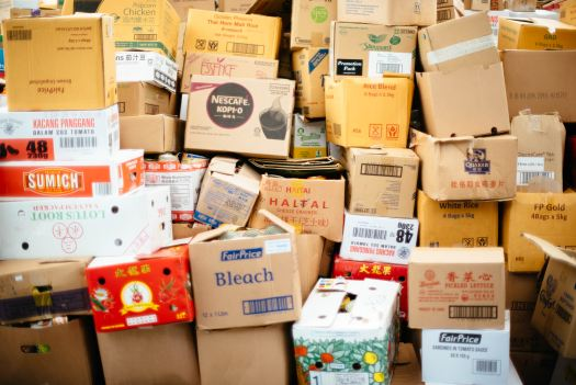 Boxes stacked from many different manufacturers