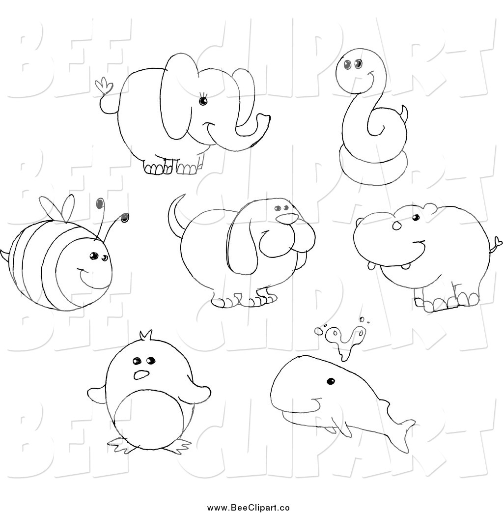 Cartoon Vector Clip Art Of A Black And White Bee Elephant Snake Dog Hippo Penguin And Whale By Yayayoyo 505