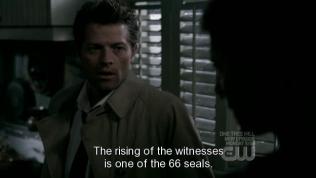 """Cas bắt đầu giải thích cho Dean về việc đang xảy ra, """"Sự sống dậy của những nhân chứng là một trong 66 ấn phong."""""""