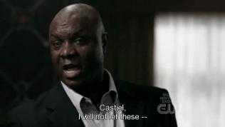 """""""Castiel, tôi sẽ không để bọn..."""" - Đây là thiên thần đồng hành với Cas lần này, đương nhiên là hắn ta hoàn toàn không tin vào Dean và muốn thực hiện mệnh lệnh kia cho gọn."""