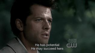"""Sau đó, Uriel trách Cas sao lại giao việc tìm phù thủy lại cho Dean. Cas trả lời, """"cậu ấy có tiềm năng. Có thể cậu ấy sẽ thành công nhiệm vụ ở đây."""""""